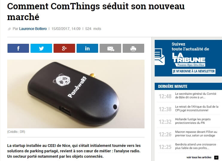 ComThings' portable radio analysis tool PandwaRF featured in La Tribune
